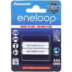 Panasonic eneloop rechargeable battery AAA 2 pack BK 4MCCE 2BE  large